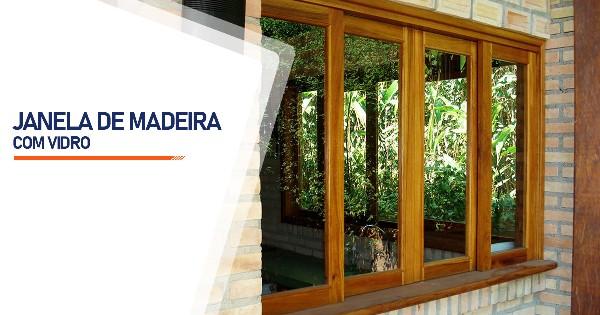 Janela De Madeira Com Vidro Alambari